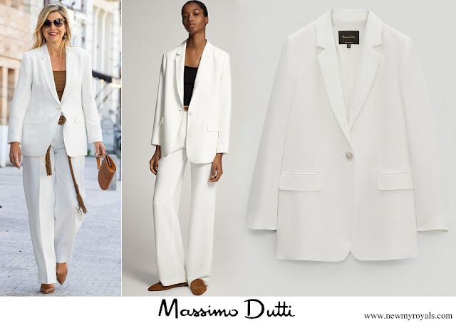 Queen Maxima wore a new white plain blazer suit from Massimo Dutti