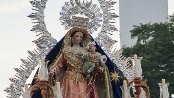 Horario e Itinerario Salida Procesional Virgen del Rosario de Churriana. Málaga 17 de Octubre del 2021