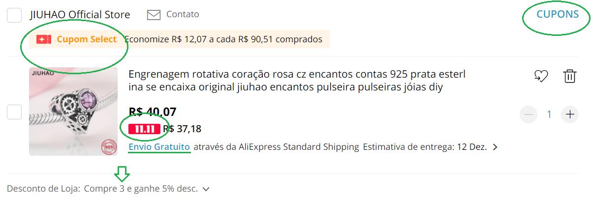 revisão do carrinho de compra do aliexpress aplicacao do cupom