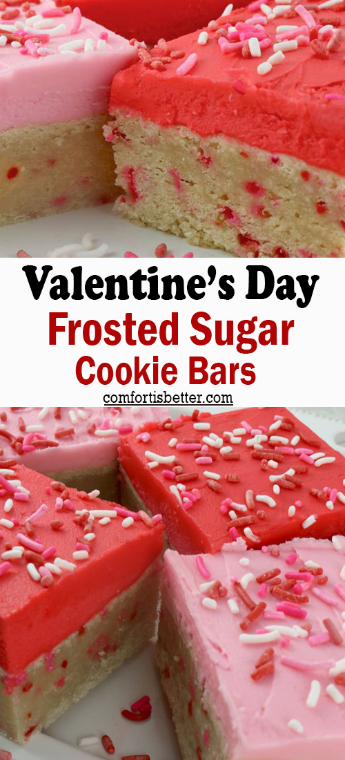 Valentine's Day Frosted Sugar Cookie Bars