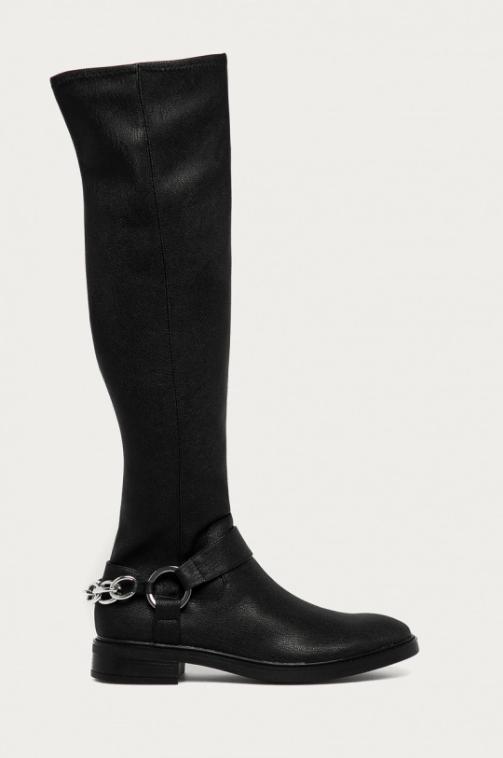 Calvin Klein - Cizme lungi casual negre din piele naturala
