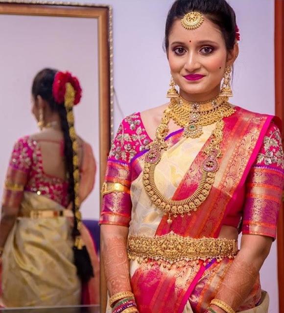 Bride in Tussi Choker Mango Haram
