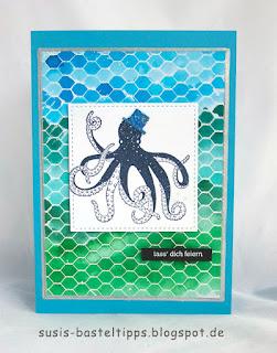 Tintenfisch diy geburtstagskarte handgestempelt verschiedene HIntergrund Variationen mit dem Stampin' Up! Stempel all wired up und Farben, Idee von Stampin' Up! Demonstratorin in Coburg