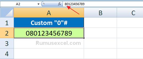 Hasil Custom Format di awali angka 0 di Excel