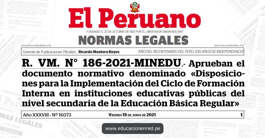 R. VM. N° 186-2021-MINEDU.- Aprueban el documento normativo denominado «Disposiciones para la Implementación del Ciclo de Formación Interna en IIEE. públicas del nivel secundaria de la Educación Básica Regular»