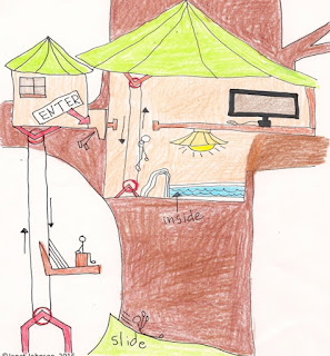 child drawing of a treehouse for an art lesson