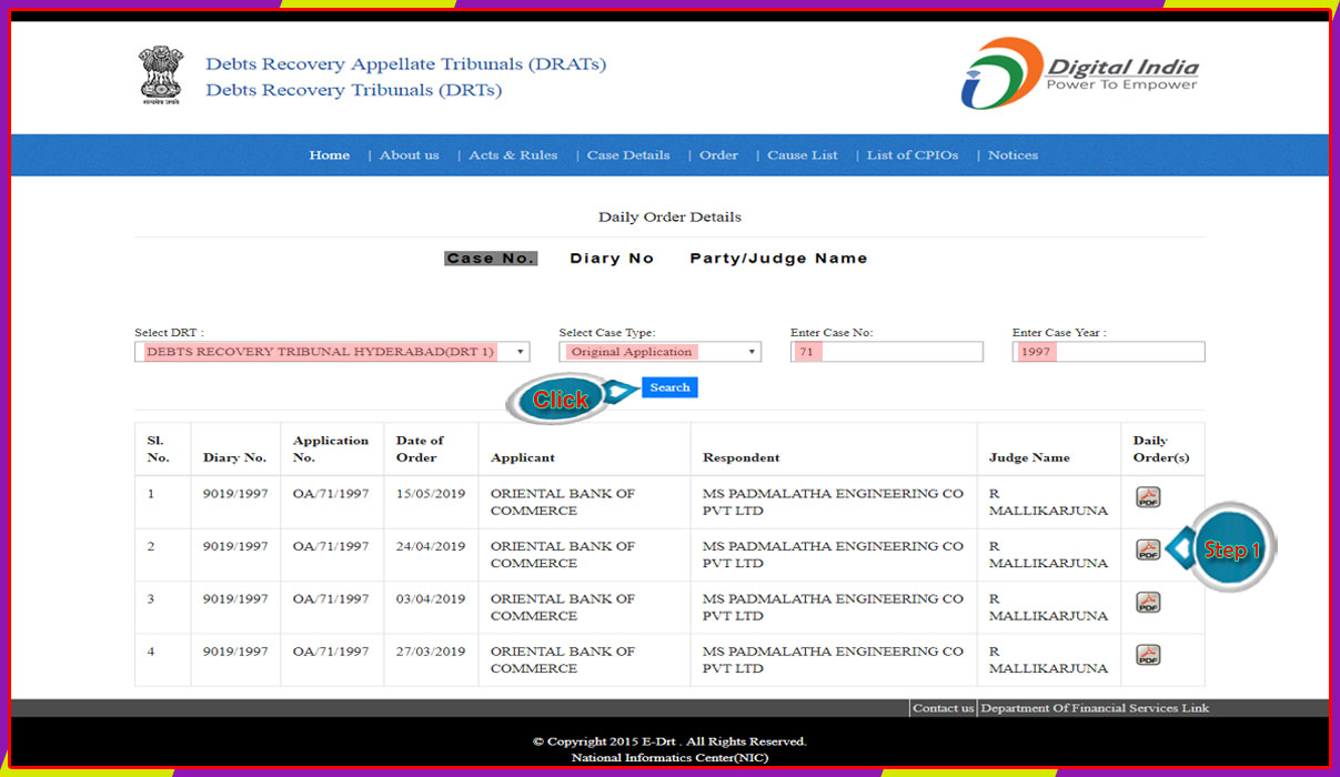 Debts Recovery Tribunal-1 Hyderabad Daily Order Detail-3