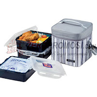 Lock & Lock Lunch Box Set with Gray Stripe Bag HPL856DG