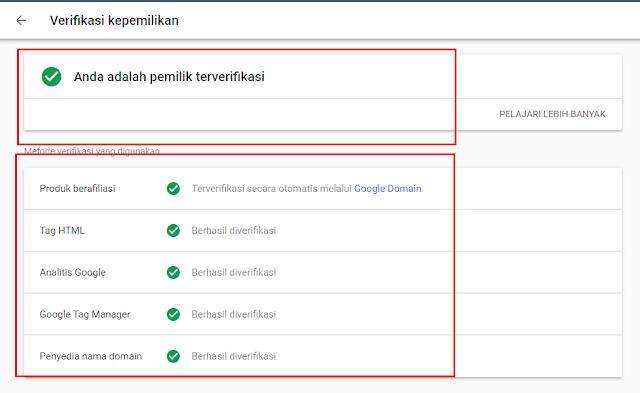 verifikasi Tag HTML, Produk Berafiliasi, Analisis Google, Google Tag Manager Dan Penyedia Nama Domain