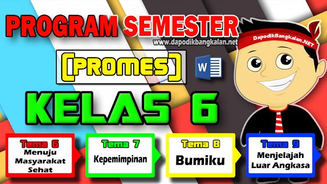 Promes Kelas 6 Semester 2 K13 revisi 2018 Tema 6 7 8 9