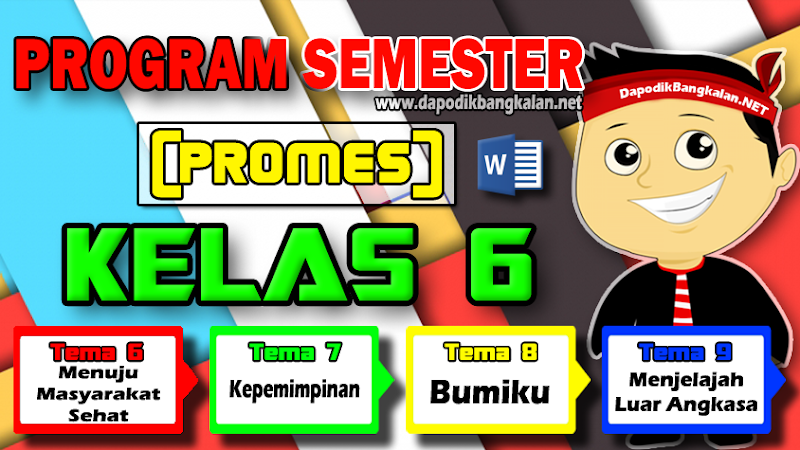 Promes Kelas 6 Semester 2 K13 revisi 2018 Semua Tema