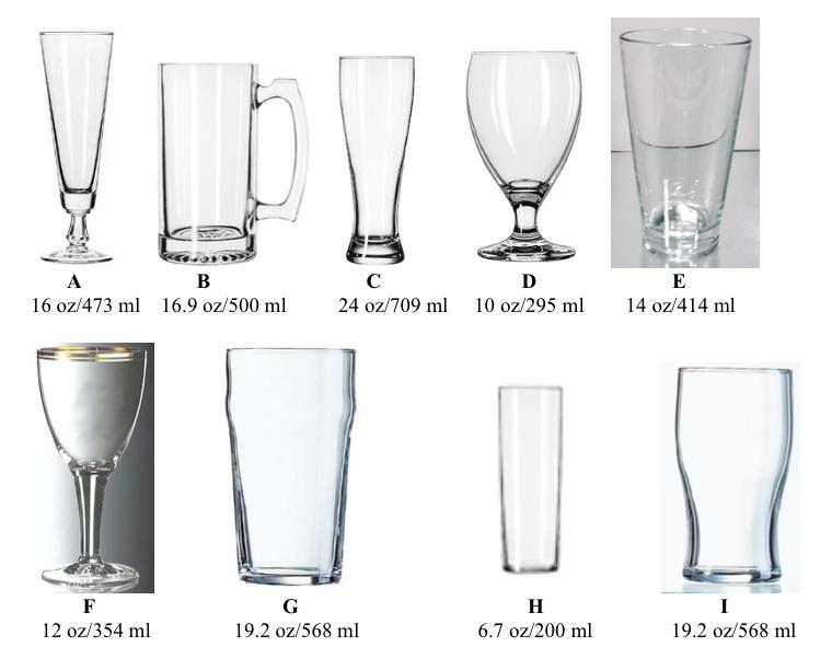 Beer Studies: Sample Exam: Beer Glassware