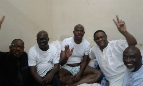 shared by medianet.info Epic photo of the day! Bala Mohammed, Reuben Abati, Obanikoro, FFK & Bashir at EFCC detention cell