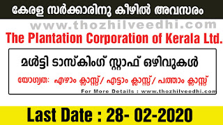 PCK Limitred (The Plantation Corporation of Kerala Ltd.) Recruitment 2020 - Apply Offline For Workers