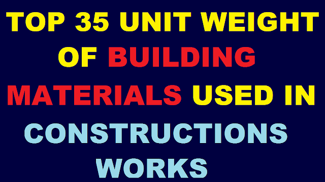 Top 35 Unit Weight of Building Materials Used in Construction Works