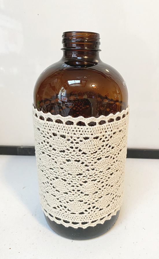 lace wrapped amber bottle