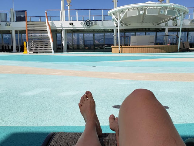 Crew members enjoy empty cruise ship