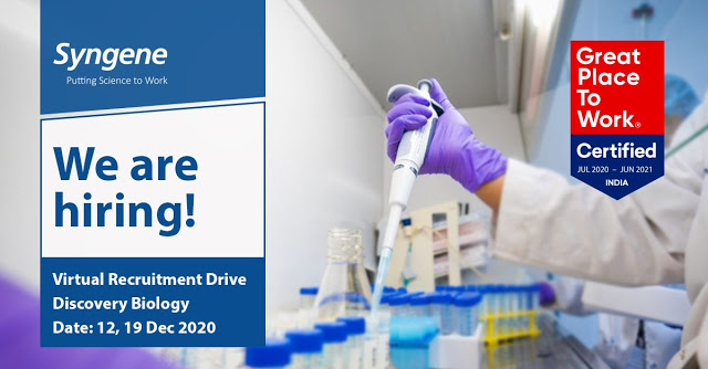 Syngene | Virtual Interview for Discovery Biology on 12th&19th Dec 2020