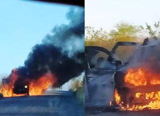Carro pega fogo na BA-142