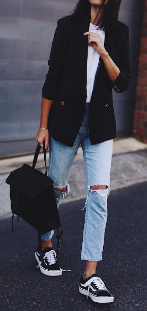 Ripped jeans, white shirt, and black blazer