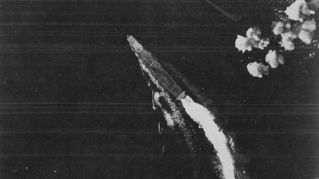 Japanese carrier Hiryu dodges bombs. 4 June 1942 worldwartwo.filminspector.com