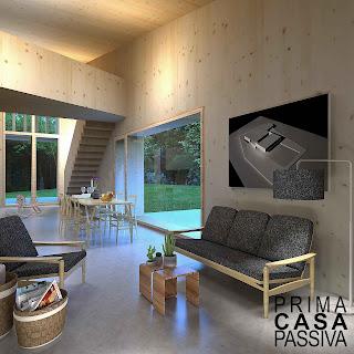 Interno di una casa passiva in prossima realizzazione, pareti in x-lam e vetrate rivolte a Sud