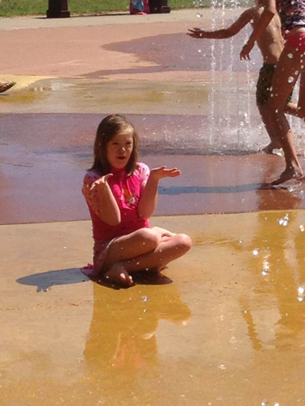 Girl at the splashpad