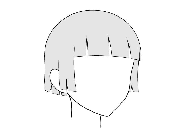 Anime rambut dipangkas 3/4 tampilan gambar