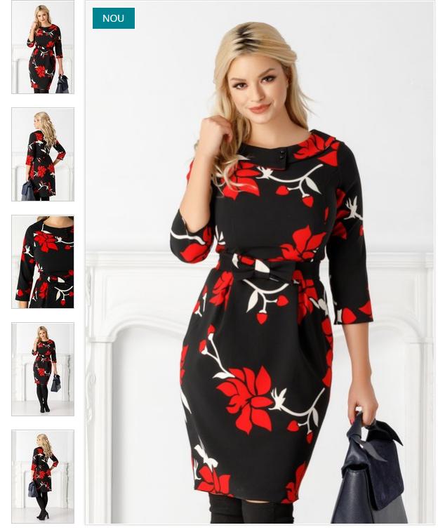 Rochie de zi neagra eleganta imprimeu rosu-alb conica maneci trei sferturi