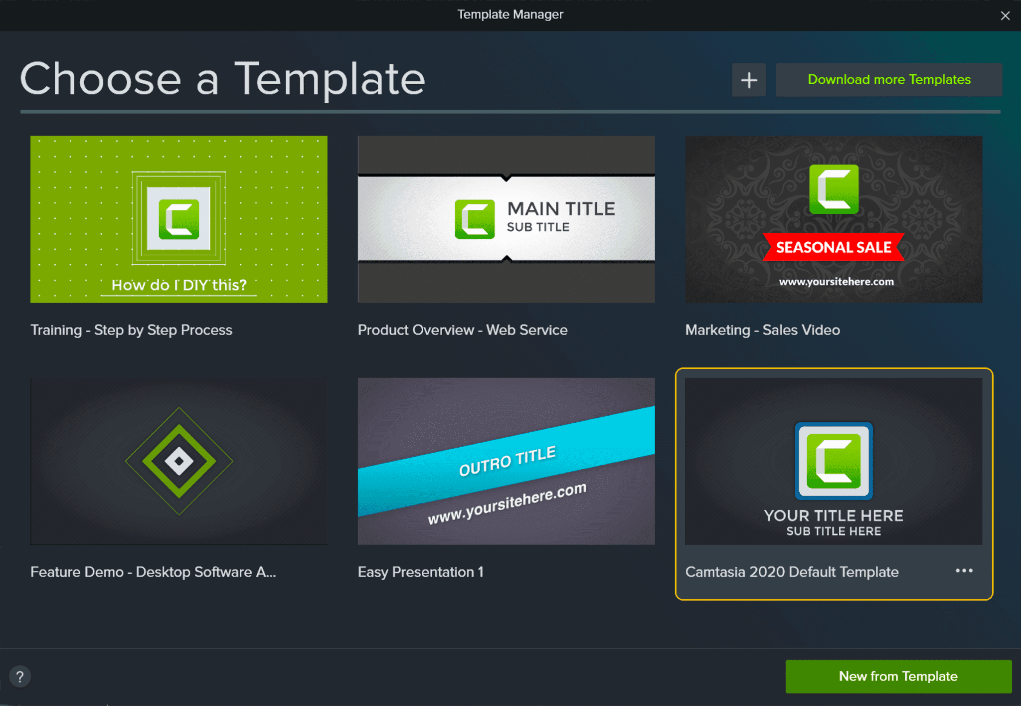 Camtasia Template Manager Screenshot