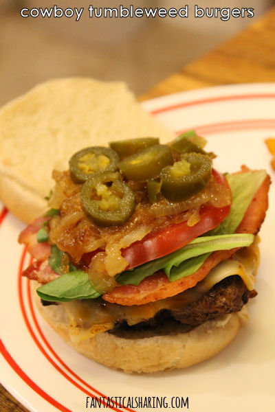 Cowboy Tumbleweed Burgers #recipe #burgers #beef #chorizo #sandwich #bacon #jalapeno