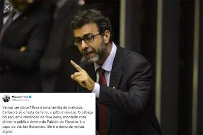 Marcelo Freixo com o tuíte da denúncia