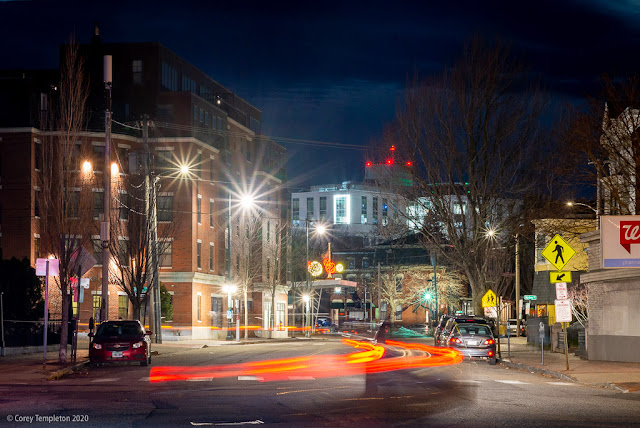 December 2020 photo by Corey Templeton. A morning on Congress Street, looking west towards Maine Medical Center Portland, Maine.