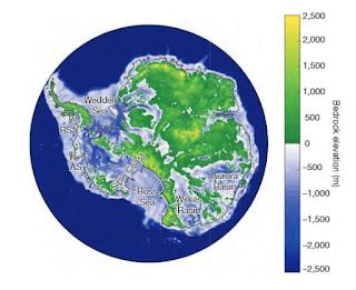 Une partie du continent antarctique est située sous le niveau de la mer