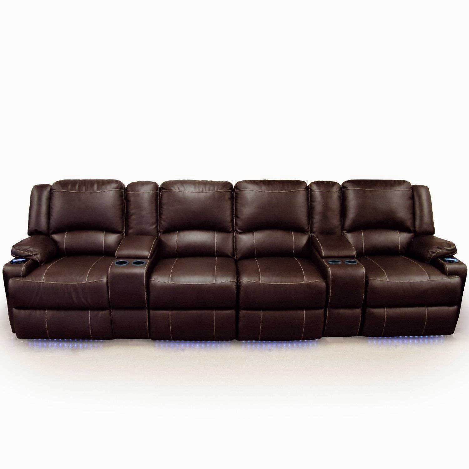 Clay Madison - Home Theater Seating Row of 4 Chairs with Middle Love Seat