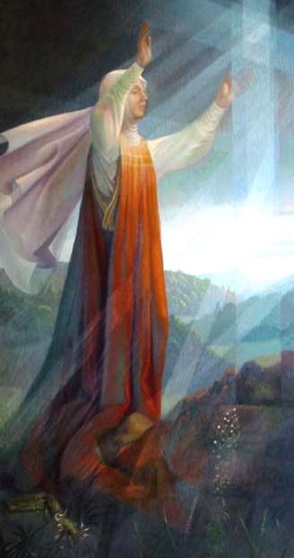 Dibujo de Santa Angela de Foligno levantando los brazos