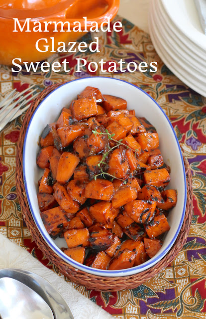 Food Lust People Love: Marmalade glazed sweet potatoes are a bit sweet, with a lovely sharp edge from the orange marmalade and a good splash of sherry vinegar. They are just as tasty as they are pretty and would make a great addition to your holiday table. Look at that shine!