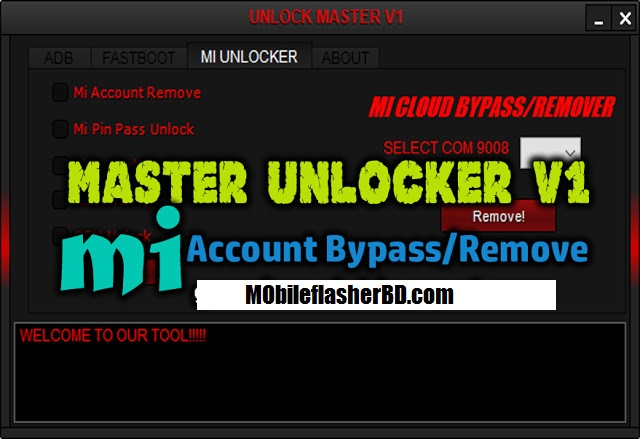 Download Master Unlocker v1.0 SPD Qualcomm Mi Account Bypass Tool Free Download By MobileflasherBD