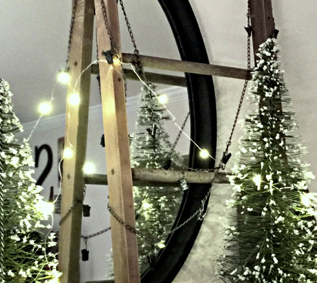 ladder with white lights