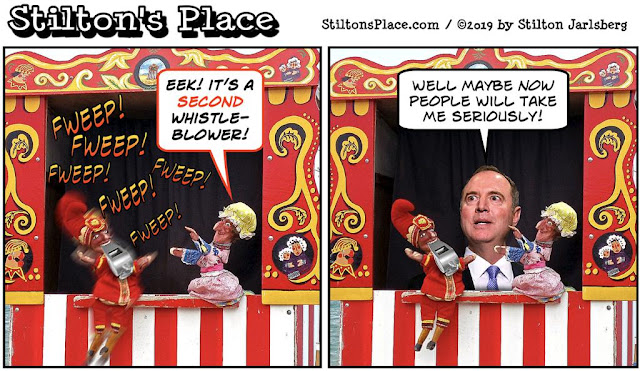 stilton's place, stilton, political, humor, conservative, cartoons, jokes, hope n' change, trump, impeachment, whistleblower, schiff, puppets, punch, judy