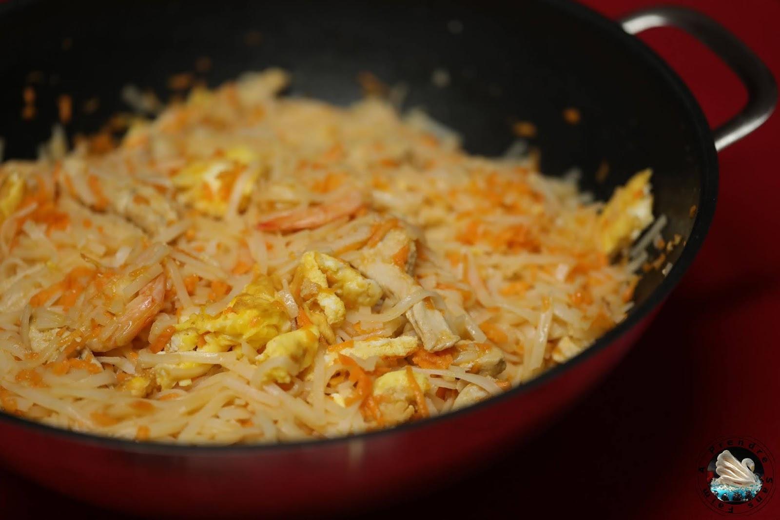 Pad thaï poulet crevettes