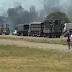 Caminhão que transportava suínos pega fogo na ERS-342 em Cruz Alta