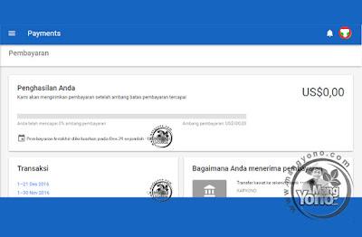Pembayaran 2016 dari Google Adsense