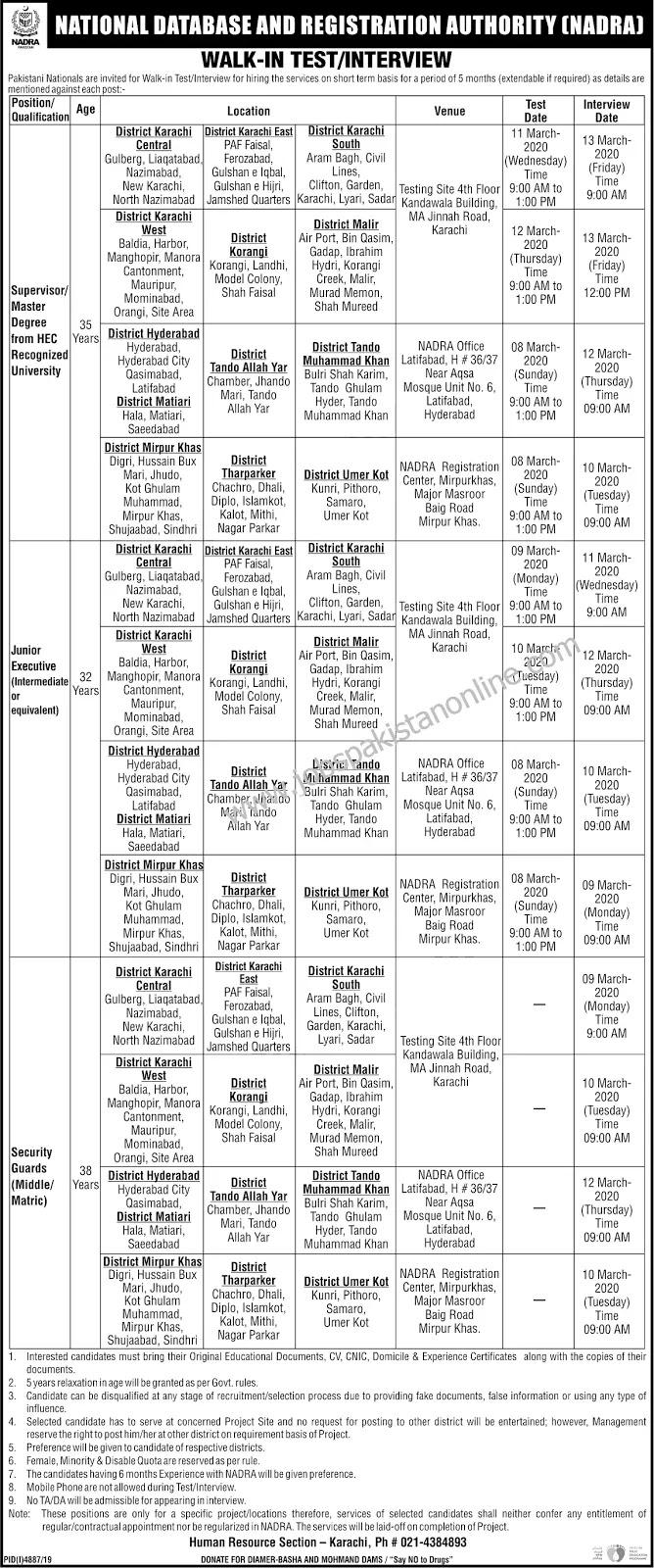 NADRA Jobs Multiple Metric, Intermediate & Graduation Jobs 2020 (Karachi)