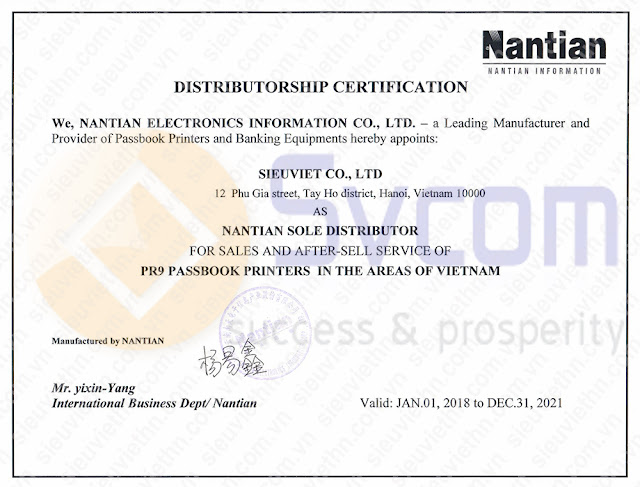 Nhà cung cấp máy in sổ Nantian PR9 cho ngân hàng Nam Á.