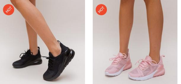 Adidasi dama negri, roz din panza de calitate si talpa din spuma