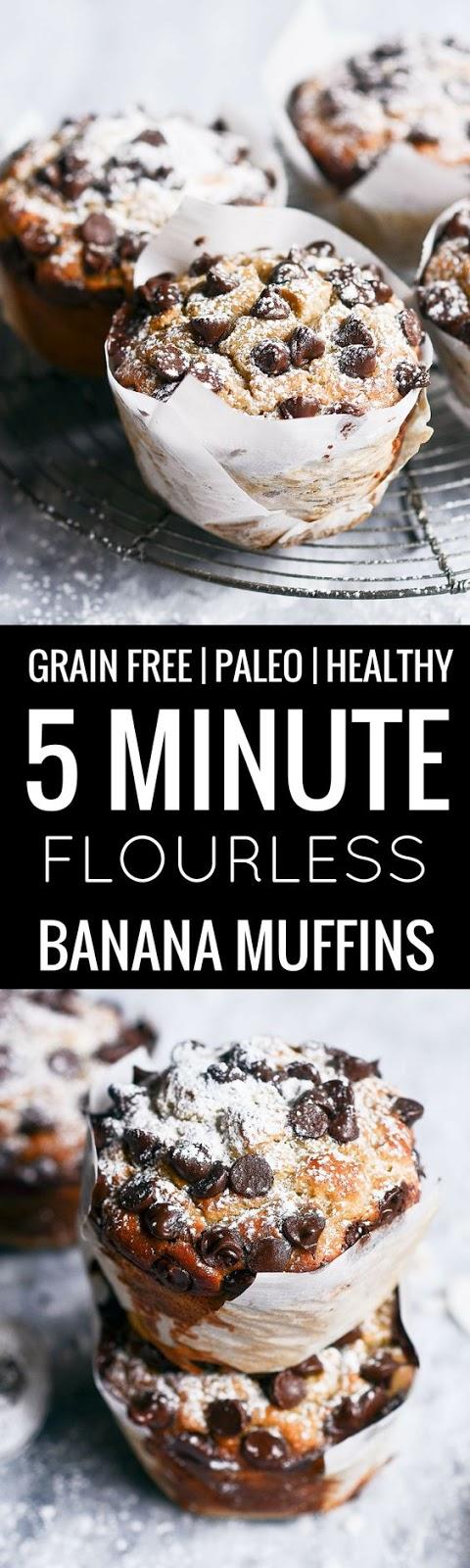 Gluten Free Paleo 5 Minute Banana Muffins