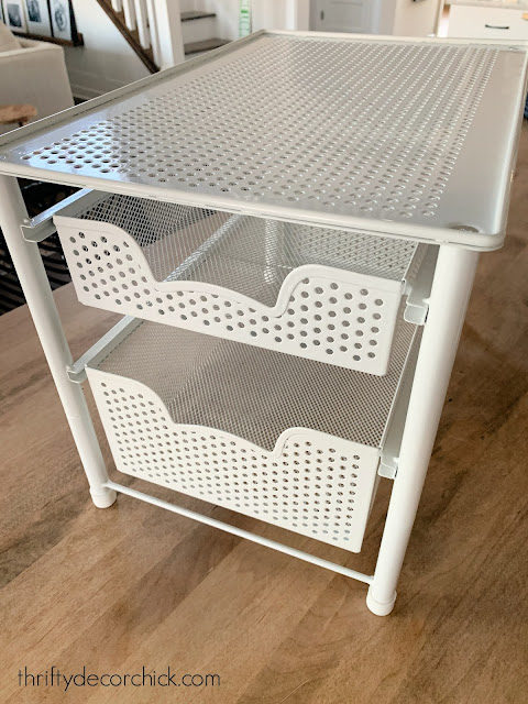 white metal shelves for under cabinet