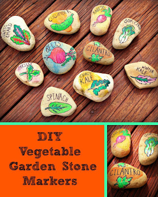 Vegetable Garden Stone Markers by Painted Pomegranate.
