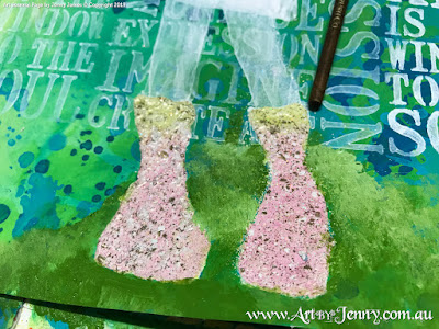 heat embossing boots for the Mixed Media artwork by Jenny James featuring the theme Bucket List